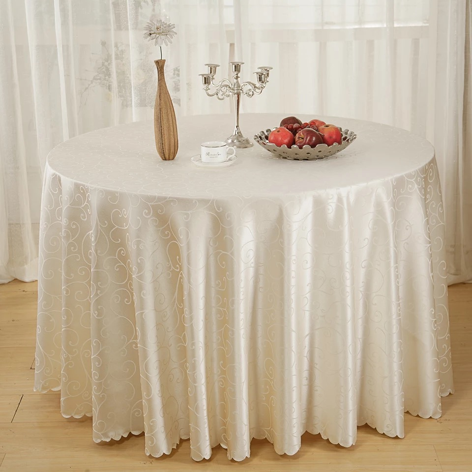 Nappe De Table Ronde 210 56 10 De Réduction 3mtr X10pcs Hôtel Restaurant Nappe Table Ronde Table à Manger Jupe Couverture Polyester Table Couverture Tissu Banquet