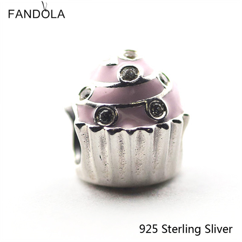 925 Sterling-Silver-Jewelry Sweet Cupcake, Light Pink Enamel Fit for Pandora Charms Bracelet For European Style Women DIY Making