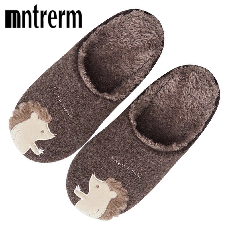 Mntrerm Indoor House Slipper Soft Plush Cotton Animal Slippers Shoes Large Size Floor Home Plush Slippers Men Shoes For Bedroom lcizrong women brown bear plush home slippers non slip large size family animal slipper woman indoor shoes house slippers