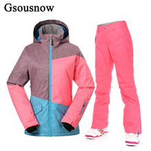 Gsou Snow Winter Women Skiing Jackets and Pant Set Super Waterprof Breathable Female Thick Ski Coat Trousers Snowboard Ski Suit