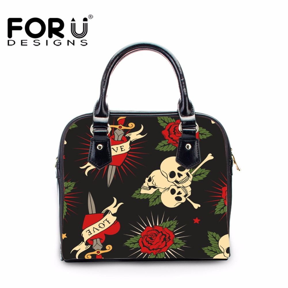 FORUDESIGNS Black Skull Pattern Leather Handbag Women Casual Shoulder Cross-body Bags For Girls Feminine Bolsa Woman Fashion Bag
