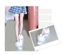 Так Каваи Японский Стиль Лолита Девушка Кролик Уха Зайчика Плюшевые Обувь Клин Платформа Стринги Флип-Флоп Тапочки