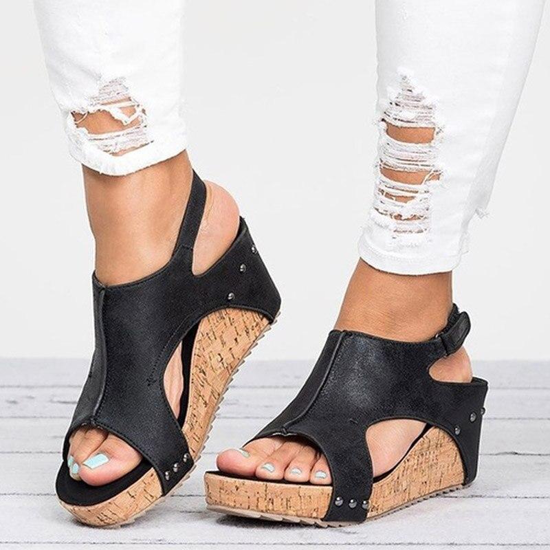 2019 Platform Sandals Wedges Shoes Sandalias Mujer Summer Shoes Leather Wedge Heels Gladiator Sandals Women Sandals