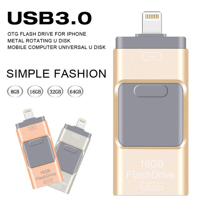 Новый OTG USB Flash Drive 64 ГБ 32 ГБ pendrive 16 ГБ 8 ГБ металл Pen Drive для iphone/ipod/ipad/PC Памяти usb stick 3.0 Бесплатно доставка
