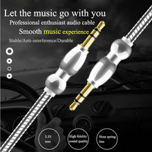 1 M 3.5 Mm Mini Pegas Logam Paduan Aluminium Male To Male Adaptor Kabel Audio AUX Catatan Line Kabel Mobil converter Kabel Tambahan(China)