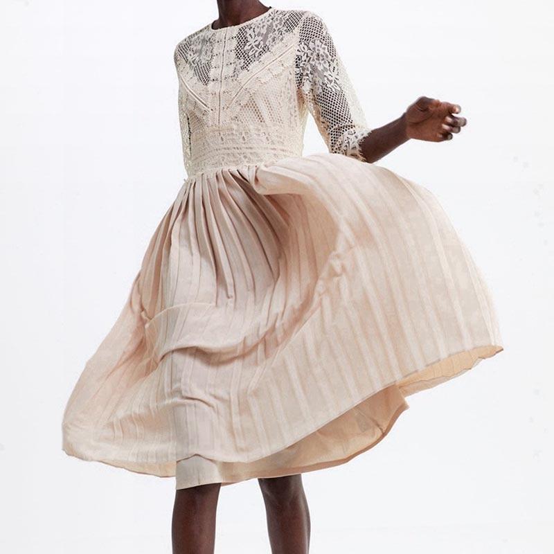 QZ05 New Spanish Design O Neck Lace Patchwork Pleated Fairy Dress Women Solid Color Sweet VestidosDresses   -