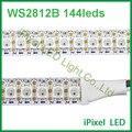 1 m ws2812b ws2812 rgb conduziu a tira, tira ws2812 endereçáveis ic, preto/branco pcb IP20 ou IP65 dc 5 v