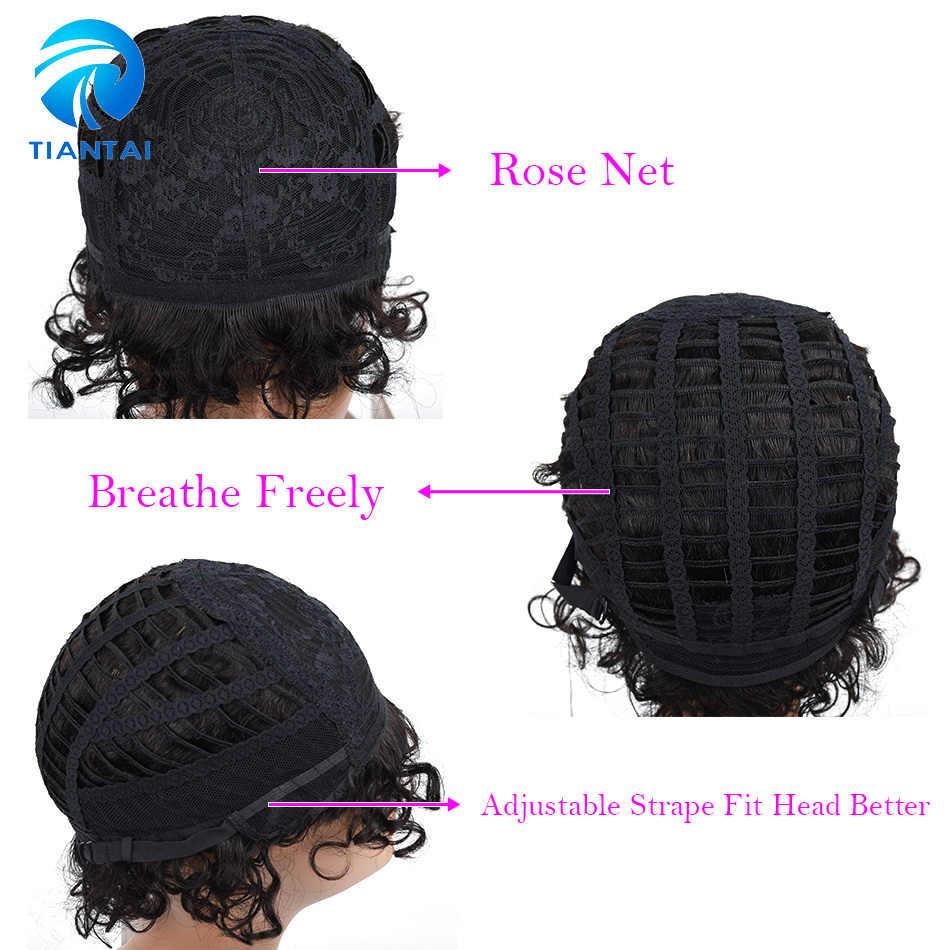 Бразильские короткие человеческие волосы парики для черных женщин натуральный цвет Remy машина сделано Glueless Bob Curly парики TIANTAI