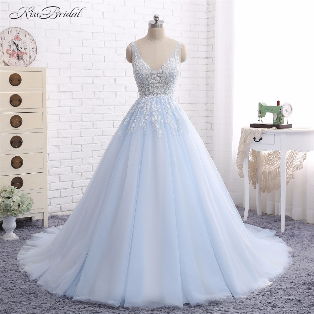 Baby blue wedding dresses vestido de noiva 2017 a line v for Baby blue wedding guest dress