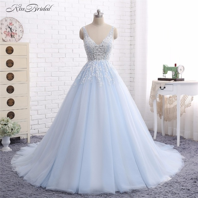 Aliexpress compre baby blue wedding dresses vestido de noiva baby blue wedding dresses vestido de noiva 2017 a line v neck lace appliques tulle bridal junglespirit Choice Image