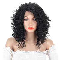 ELEGANT MUSES 12inch Kinky Curly Synthetic Lace Front Wigs For Women High Temperature Heat Resistant Fake Hair Cosplay Wigs