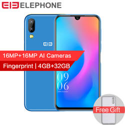 """Elephone A6 мини 4 GB 32 GB Android 9,0 смартфон 5,71 """"водослива Экран MT6761 4 ядра 16MP AI двойной камеры 3180 mAh Face ID"""