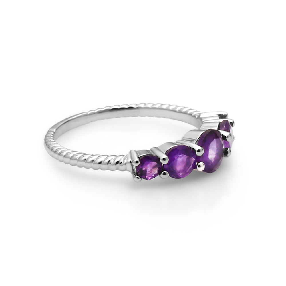 Image 4 - GEMS BALLET Classic 1.28ct Round Natural Amethyst Rope Band Stackable Ring For Women Wedding 925 Sterling Silver Fine JewelryRings   -