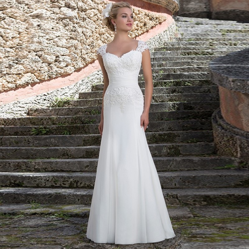 w3347 elegant backless cap sleeves lace appliques v neck chiffon sheath wedding dresses 2016 vestidos de novia wedding dress