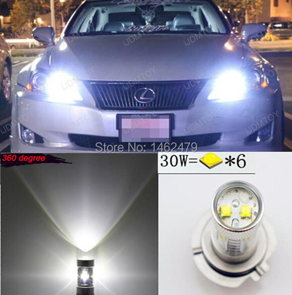 2 x  Super Birght  White 9005 HB3  For CREE  Chips  Projector  Bulb LED High Beam Daytime Running Lights DRL For Lexus Toyota pair error free canbus high power xenon white h7 for cree chips led kit for bmw e46 3 high beam daytime running lights