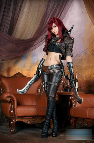 lol Katarina costume full suit for Halloween party leather cosplay costumes any size Custom any size