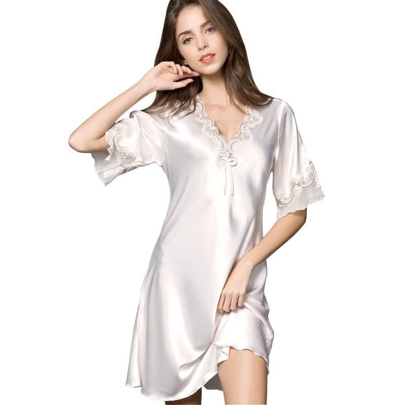 Sexy Women Satin Sleepwear Silk Nightgown Half Sleeve Embroidery Nightdress Sexy Lingerie Plus Size S M L XL XXL Female Nightie