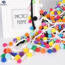 2 Yards 30 MM Mischungsfarbe Pom Pom Spitze Quaste Pompom Trim Bälle Fringe Band Bekleidung Stoff Kabel DIY Handwerk Nähen liefert