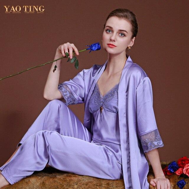 a655f3c03715 De la mujer del sueño salón de primavera ropa de dormir femme verano pijama  de raso conjunto femenino del otoño bata de seda para mujer ropa de ...