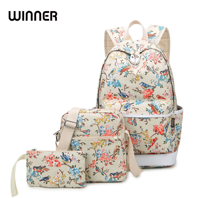Brand Women Canvas Set Bagpack School Bags for Teenage Girls Travel Bag Laptop Bird and Floral Printing Backpacks Waterproof