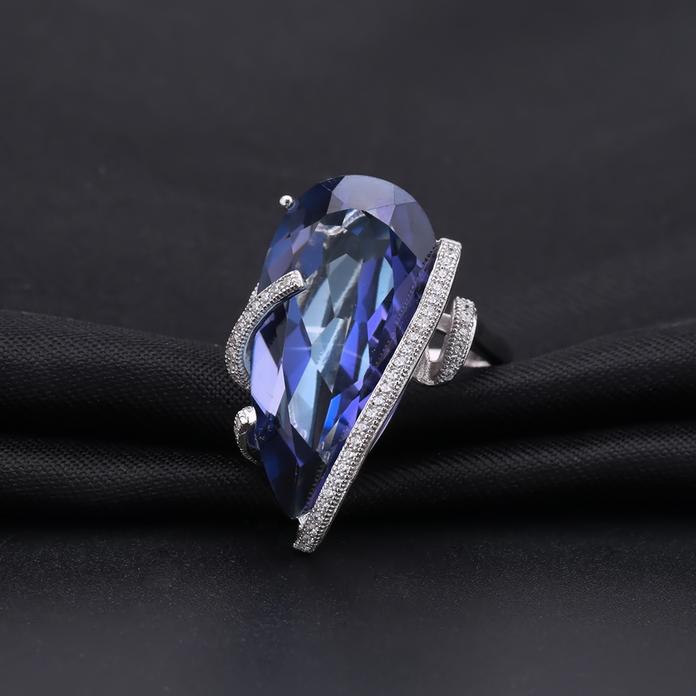 GEM'S BALLET Natural Iolite Blue Mystic Quartz Fashion Jewelry Sets 925 Sterling Silver Earrings Ring Set For Women Fine Jewelry