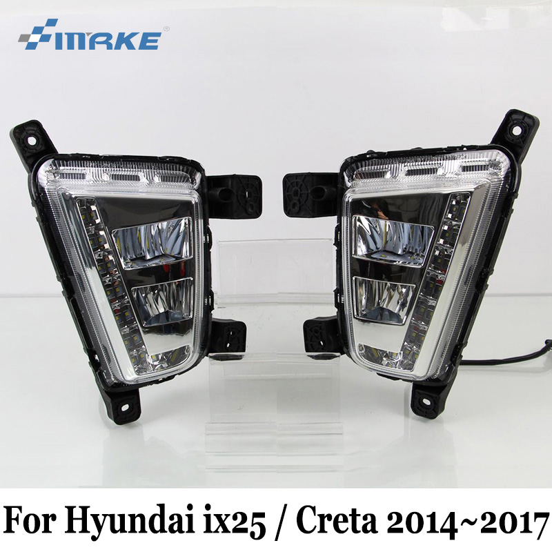 SMRKE DRL For Hyundai ix25 2014~2017 / LED Car Daytime Running Lights & Fog Lamp Assembly / Auto Day Driving Lamp Free Shipping auto car led white drl driving daytime running light fog lamp daylights for hyundai ix35 2014 2017 2pcs free shipping d35