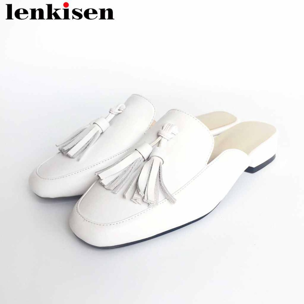 Lenkisen tassel full grain leather round toe slip on low heel high street fashion mules classic leisure women big size pumps L06 fedonas fashion women pumps casual women square toe low heels mules slip on slippers rivets button leisure retro british pumps