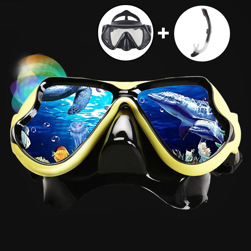 Underwater Diving Mask Snorkel Set Swimming Training Scuba Full Dry Snorkel Tube Snorkeling Mask Anti Fog Swim Glasses For Adult