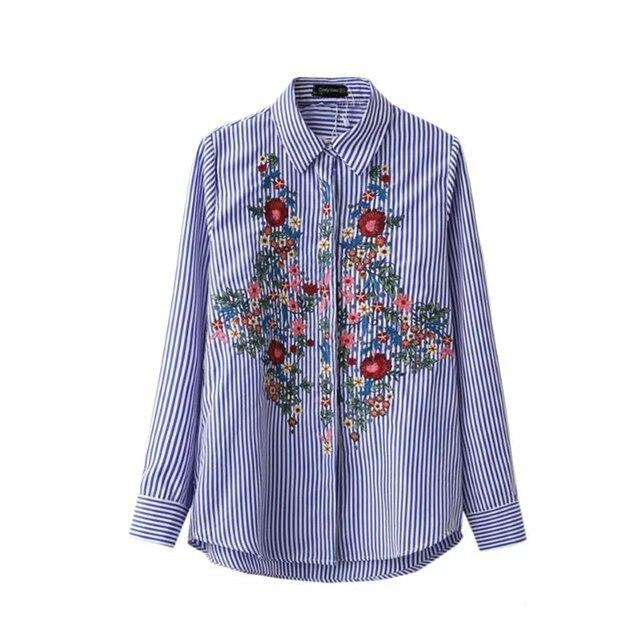 Новый Случайный Цветочный Вышивка Блузка Хлопок Женщины Мода Полосатой Рубашке отложным Синий Длинные Блузка Рубашка Повседневная Blusas Женский