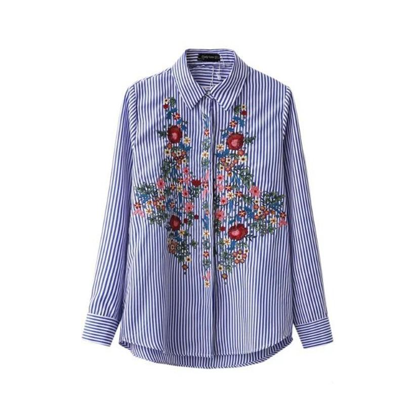 New Casual Floral Embroidery font b Blouse b font Cotton Women Fashion Striped font b Shirt