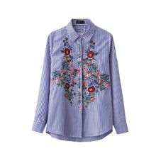 New Casual Floral Embroidery Blouse Cotton Women Fashion Striped Shirt Turn-down Blue Long Blouse Shirt Casual Blusas Female
