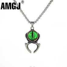 "AMGJ Alien Eye Pendant Necklace Vintage Titanium Stainless Steel Sweater Chain Necklace Gothic Hip Hop Jewelry for Men 24""(China)"