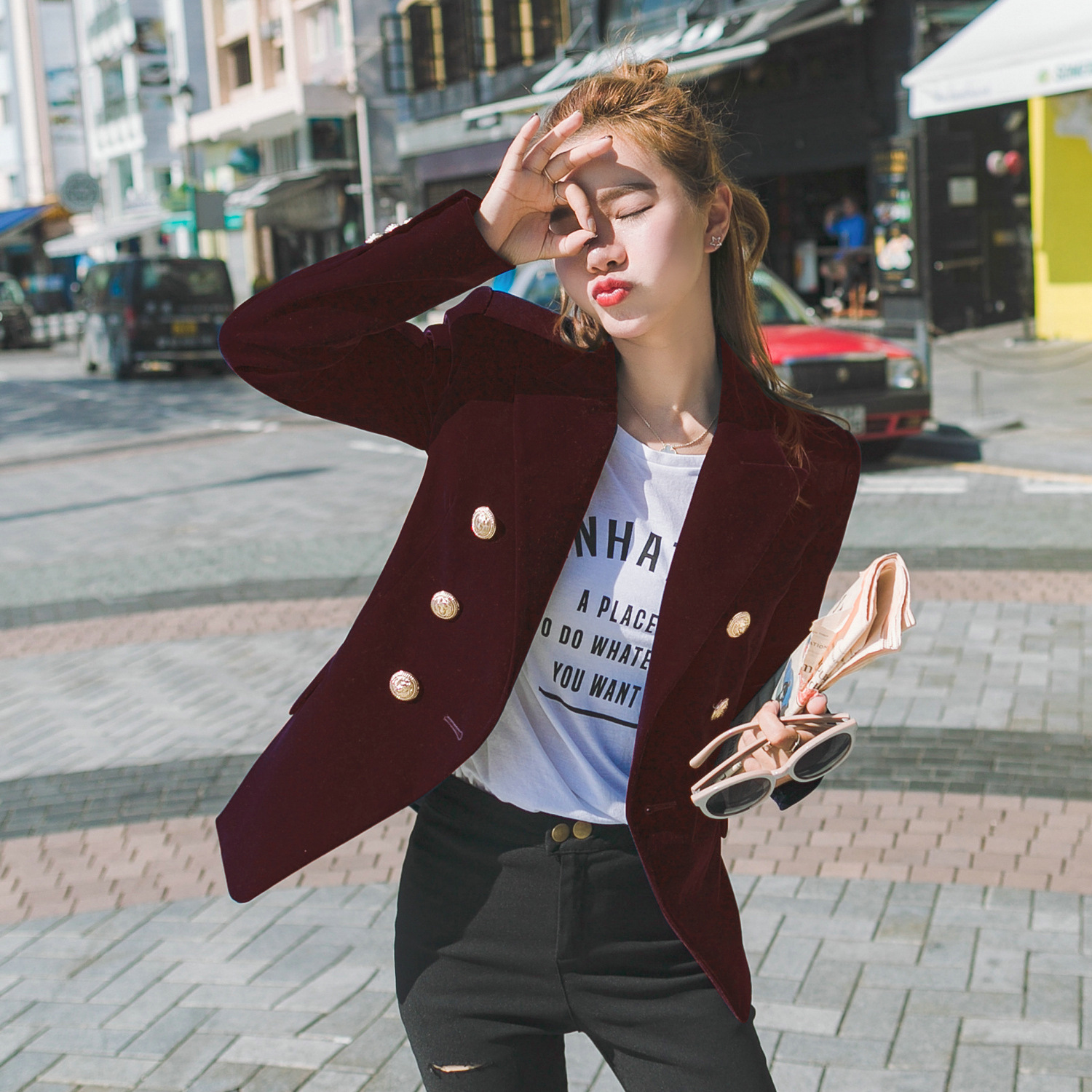 2019 New England Style Metal Double Breasted Women  Small Pleuche Slim Autumn Jacket Long Sleeve Solid Color  Velvet Blazer