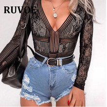 RUVOE Deep V neck Lace Mesh Crochet Slim Fit Romper Jumpsuit Sexy High Street