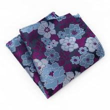 2018 25cm*25cm Flower Pocket Square for Man Silk Paisley Jacquard Weave Handkerchief Suit Pocket Square Wedding Hanky for Men(China)