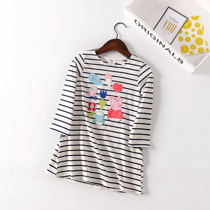 BAILIWEINI New  striped embroidery Pig cartoon Children's a-line girl dresses Spring autumn Long sleeve cotton Kids clothes toddler girl dresses chinese new year lace embroidery flowers long sleeve baby girl clothes a line red dress for party spring
