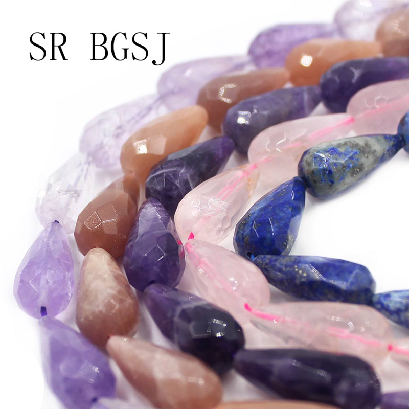 Free Shipping  12x26mm Kinds of Gems Teardrop Drop Faceted Natural  Stone Quartz Beads Strand 15Free Shipping  12x26mm Kinds of Gems Teardrop Drop Faceted Natural  Stone Quartz Beads Strand 15