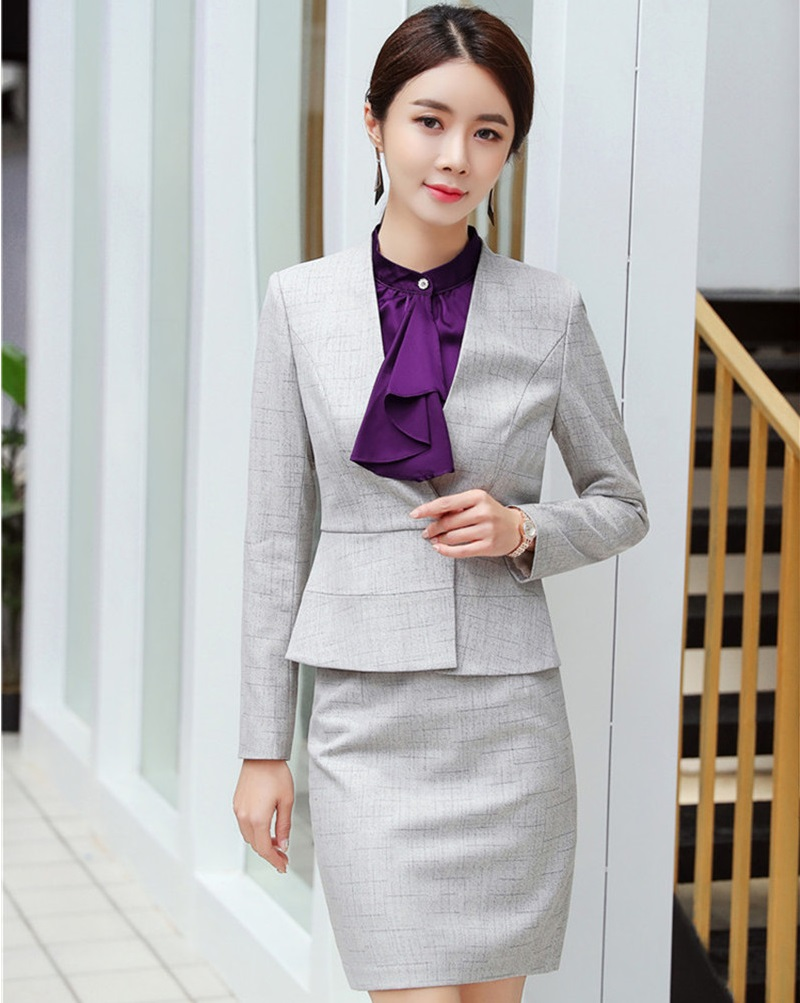 Fashion Gray Women Blazers Business Suits With Blazer And Skirt 2019 Spring Fall Ladies Professional Office Blazer Work Wear Set