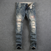 American Streetwear Fashion Men Jeans Retro Slim Fit Distressed Denim Long Pants hombre Ripped Jeans For Men Hip Hop Jeans homme