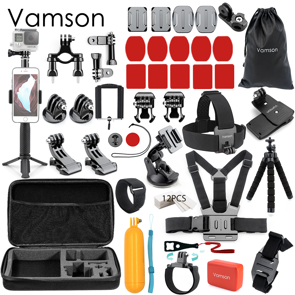 Vamson for Xiaomi 4k Accessories Set kit Tripod Monopod Selfie Stick for Gopro Hero7 6 5 4 for xiaomi for yi Action Camera VS53 цена и фото