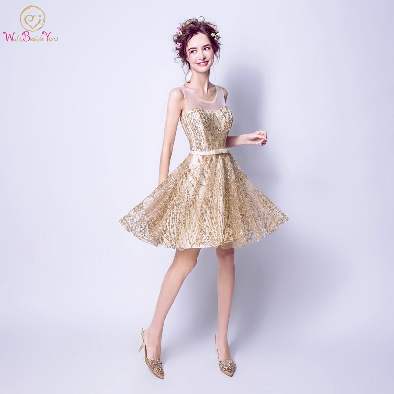 Walk Beside You Gold Cocktail Dresses vestidos coctel cortos Short Sequined  Bling Sleeveless A-line 4f862460210f