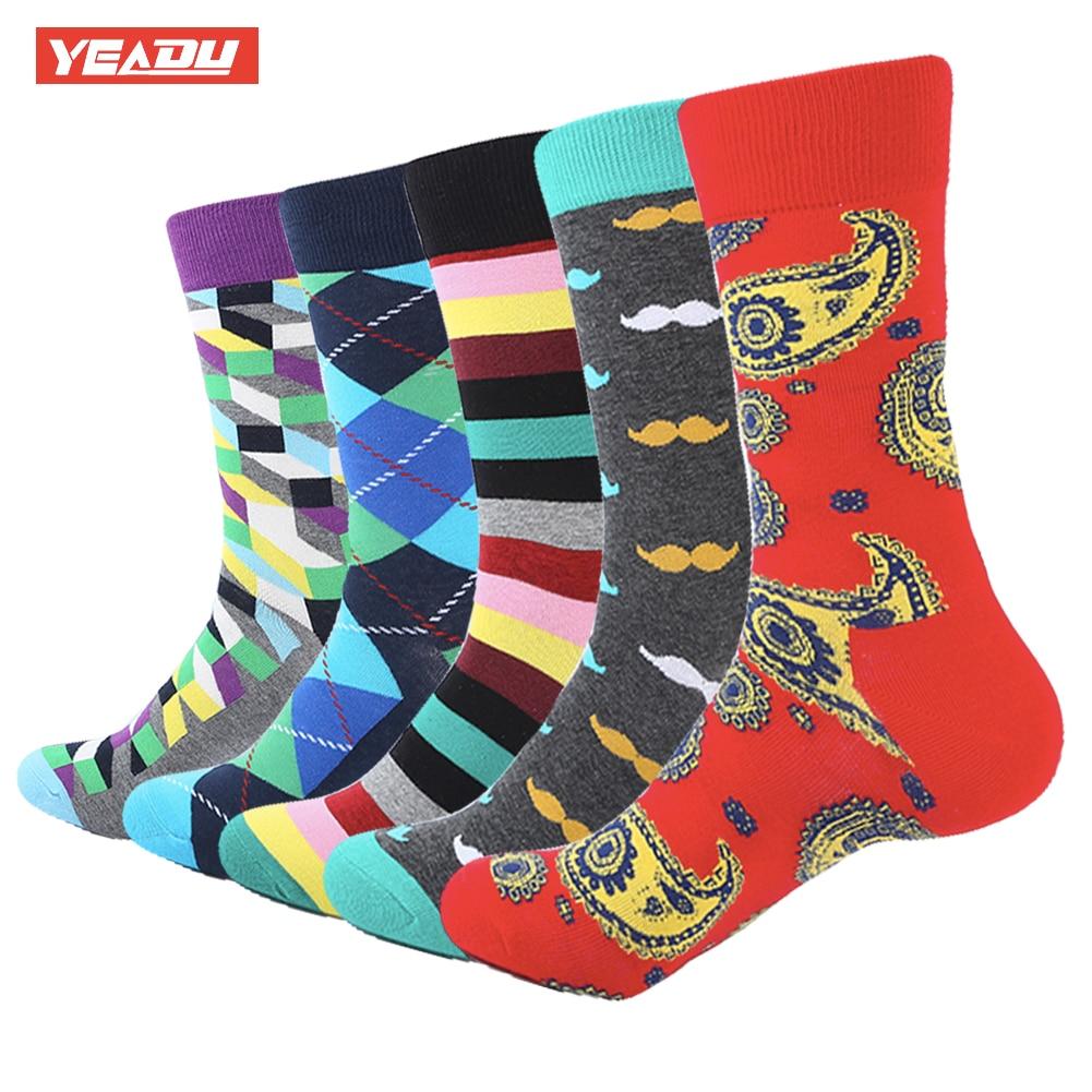 YEADU 5 pair/lot Mens Colorful Stripe Soft Warm Stripe Moustache Breathable Combed Cotton Funny Crew Socks Happy Socks