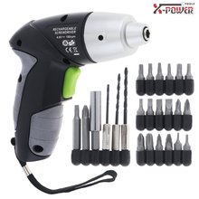 Mini AC 100~240V Cordless Rechargeable 4.8V/3.6V Electric Screwdriver with LED Lighting and Screw Drill Bits Accessories voto ac 100 240v cordless 12v electric drill screwdriver with adjustment switch and two speed adjustment button for punching