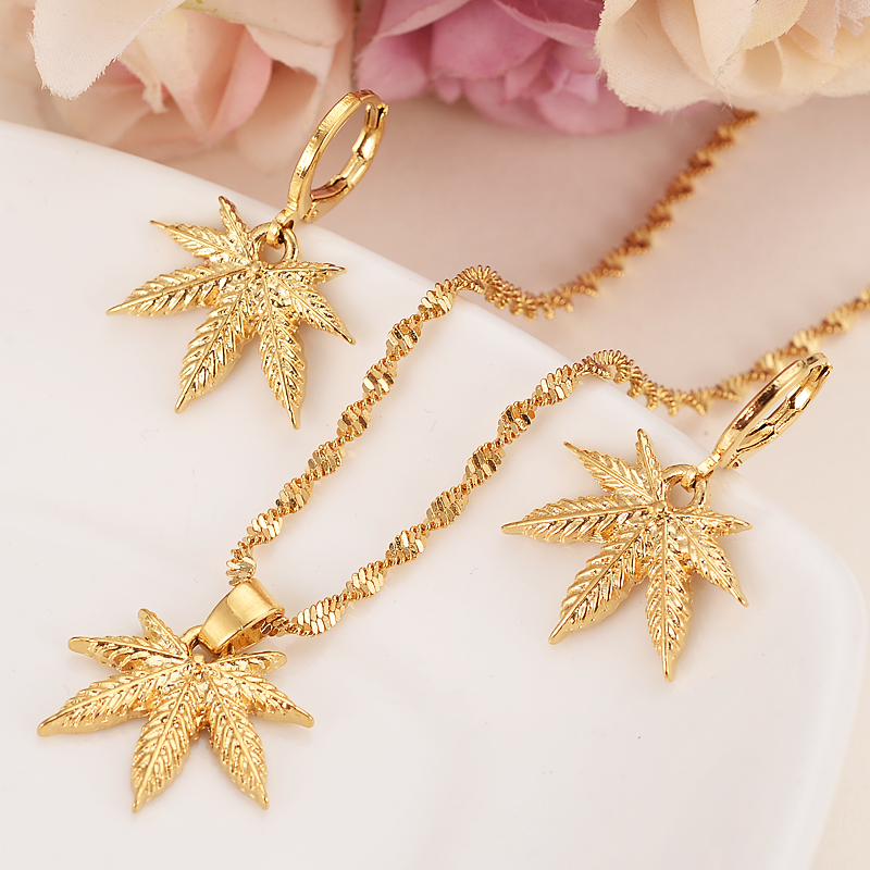 gold pendant Necklace Earring Set Women Party Gift Cannabiss Weed Marijuana Leaf charms women girls bridal wedding Jewelry gift