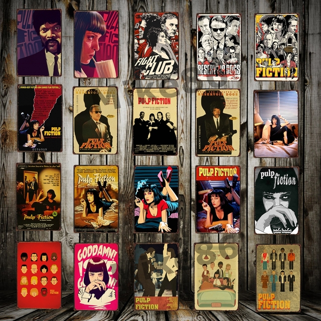 Fiction Fight Club Reservoid Dogs Retro Metal Poster Pub Cinema Bar Mural Painting 20×30 Cm Aa-1039