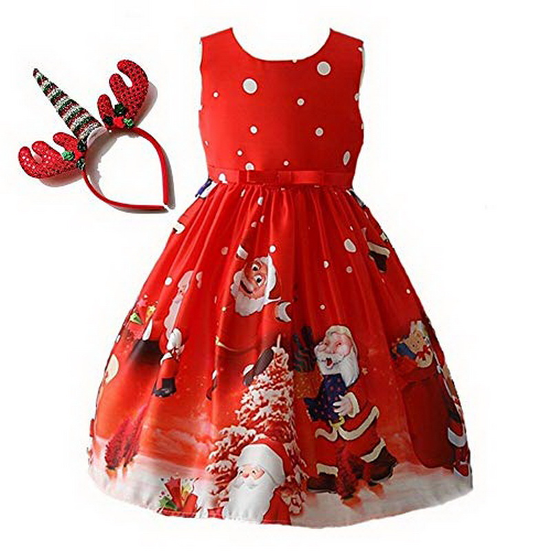 Little Girls Derss Christmas Eve Xmas Tree Snow Reindeer Party Dresses With Headband Santa Reindeer Costume New Year Dresses Up