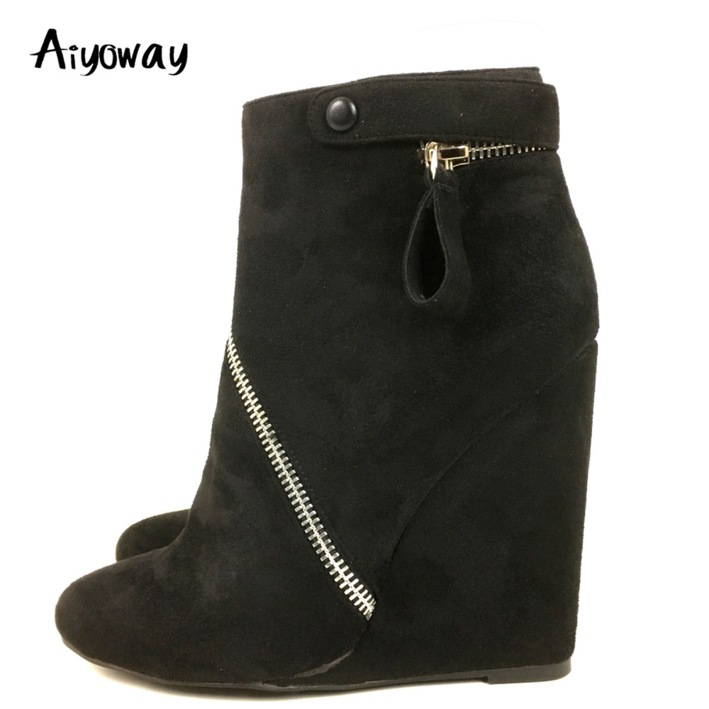 Aiyoway Fashion Women Ladies Round Toe Wedges Heel Ankle Boots Zipper Autumn Winter Party Dress Booties Black US Size 5~13 black round toe side zippers heavy bottomed increased inner 12 cm slope heels naked boots discount women fashion wedges booties