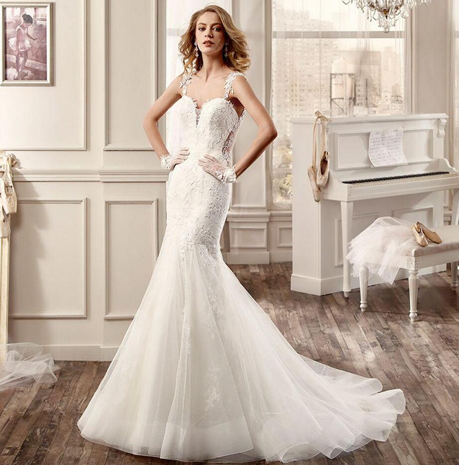 Spaghetti Strap Lace Mermaid Wedding Gowns: Sexy Mermaid Lace Wedding Dresses 2016 Spaghetti Strap