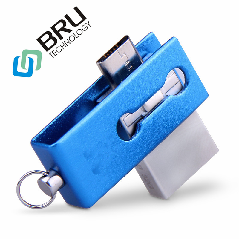 BRU 8GB16GB32GB64GB OTG USB Flash Drive For Android Mini Metal Pen drive OEM Gift Personalized Custom Laser engrave Print Logo