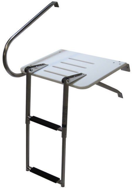 Boat Outboard Fiberglass Swim Platform Stainless Steel Rail 2 Steps Ladder